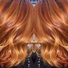 Light Red Hair with Blonde Highlights Red Hair Color, Red Hair With Blonde Highlights, Red Blonde Hair, Red Hair Color, Copper Blonde, Copper Balayage, Golden Copper Hair, Copper Hair With Highlights, Brown Hair, Color Red
