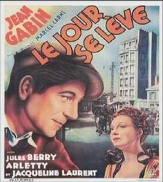 """Le Jour se Leve (Marcel Carné, 1939), one of the most prominent examples of poetical realism, Carné's film stars one of the greatest French actors, Jean Gabin, as a worker pursued by police for murder. Carné uses multiple flashbacks to cut between past and present, gradually encouraging our sympathy for his """"hero"""". Find this at 791.43744 JOU."""