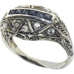 Antique Italian 18K White Gold Diamond Blue Sapphire Art Nouveau Deco Filigree Ring, C. 1910-20