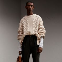 Cable Knit Cotton, Wool and Cashmere Blend Sculptural Sweater | Burberry