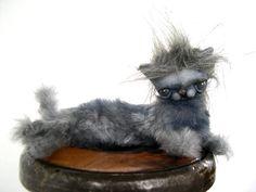 Bjd or Blythe cat prop gray art doll plush can be by dollsbymarca, $40.00
