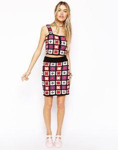 ASOS Premium Skirt In Patchwork Crochet