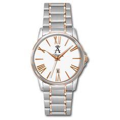 Allurez Allurez Unisex Two-Tone Classic Rose Gold Wrist Watch Swiss... ($340) ❤ liked on Polyvore featuring jewelry, watches, fake jewelry, two-tone watches, swiss quartz watches, rose gold wrist watch and buckle watches
