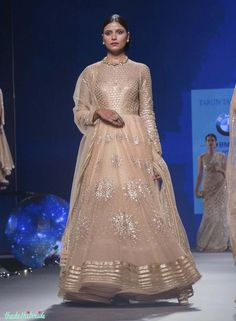 Pastel Anarkali with Silver Sequin Star Motifs & Gold Yoke - Tarun Tahiliani - BMW India Bridal Fashion Week 2015 Tarun Tahiliani, Designer Anarkali, Pakistani Outfits, Indian Outfits, Indian Reception Outfit, Indian Attire, Indian Wear, Indie Mode, Anarkali Dress