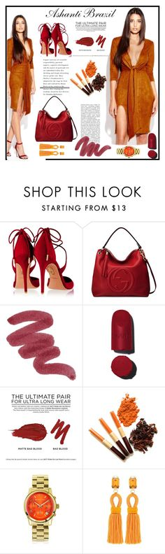 """Ashanti Brazil-Arabella Suede Dress"" by gaby-mil ❤ liked on Polyvore featuring Aquazzura, Gucci, Chanel, Urban Decay, Michael Kors, Oscar de la Renta, women's clothing, women, female and woman"