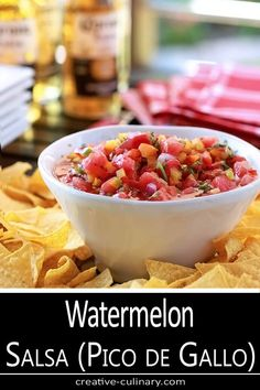 Watermelon Salsa (Pico de Gallo) Closeup of dish with watermelon, red, orange, and yellow bell peppers, and jalapeno mixed with honey. Watermelon Salsa, Fruit Salsa, Great Recipes, Favorite Recipes, Recipe Ideas, Appetizers, Appetizer Recipes, Salad Recipes, Winter Soups