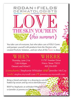 Rodan and Fields Love the Skin You're In Invitation (DIY or printed)