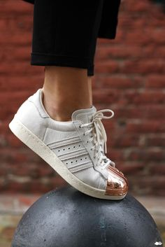 copper + white--Adidas Superstar Copper Toe.