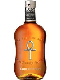 Whisky IX - Isle of Jura Superstition - Tasting-Notes: Noten von Gewürzen, Honig und Kiefer. Ungewöhnlich torfig. Der Abgang ist weich und salzig.