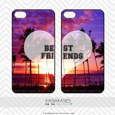 BFF Case / Paradise Sunset Summer iPhone 4 Case Best Friends iPhone 5 Case iPhone 4S Case iPhone 5S Case One 4 Your BFF Set Phone Case Gift by KasiaKases on Etsy