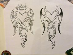 Angel & Devil Tattoo Concept - By Mark DiCarlo. I like this, but would modify it by combining the 2 designs into one, the angel on the left w/tilted halo & devil on the right. Also, split the tail design accordingly Angel Devil Tattoo, Demon Tattoo, Angel And Devil, Evil Angel, Badass Tattoos, Body Art Tattoos, Sleeve Tattoos, Small Tattoos, Wing Tattoos