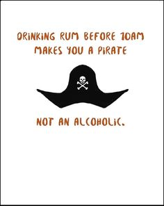 Funny alcoholic birthday blank greeting card for rum lovers and pirates