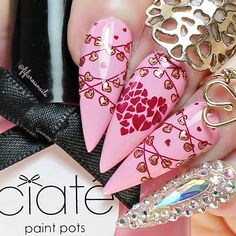 """Fiona Cross 🌸🌺🌸 on Instagram: """"Another 💗Valentine's design💗 using this lovely stamping plate from @bornprettyofficial item #48227  This plate contains some amazing…"""" Valentine Nails, Valentines Day, All Heart, Stamping Plates, Nail Art, Amazing, Instagram, Design, Valentine's Day Diy"""