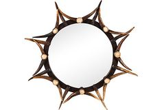 Vintage stag-horn-framed mirror with wood and metal accents.