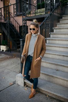 Camel Sweater Coat | Stripe Mock Neck Sweater