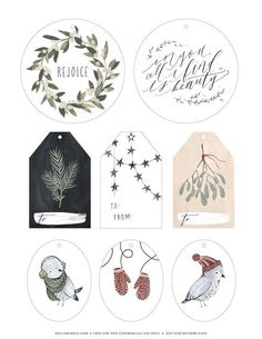 Gorgeously illustrated tags in a muted palette.