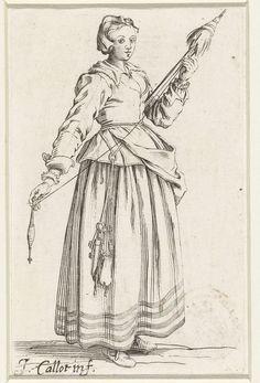 Vrouw met beurs en sleutels, een spinrokken en een haspel in de handen, Jacques Callot, 1630