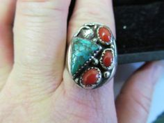 HUGE Vtg Sterling Silver OLD PAWN NAVAJO Turquoise Coral Mens Ring ending soon awesome price