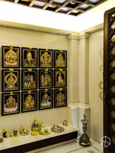 Discover thousands of images about Sacred spaces Living Room Partition Design, Pooja Room Door Design, Room Partition Designs, Home Room Design, House Design, House Decoration Items, Decorations, Indian Room Decor, Temple Design For Home