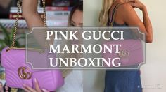 Kier Couture shows her medium size pink Gucci marmont unboxing video and links to all the pink Gucci marmont products currently available..