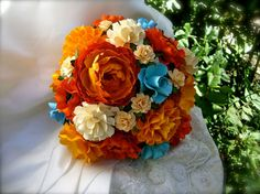 Turquoise and Orange  Paper Bouquet  by DragonflyExpression, $125.00