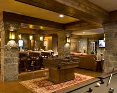 Love this basement.  The rock and the ceiling beams.  Home Channel TV | Home Videos | Home Design | Virtual Tour | House Tour