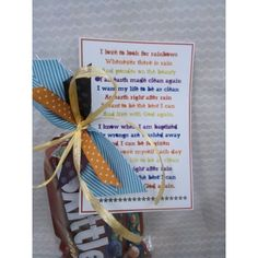 Baptism Gift -I love to like to look for  rainbows- my favorite primary song :) with skittles (taste the rainbow)