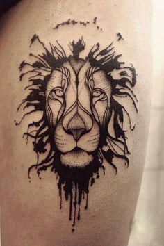 Black lion head tattoo in dotwork style