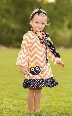 Orange Chevron Polka Spider Dress