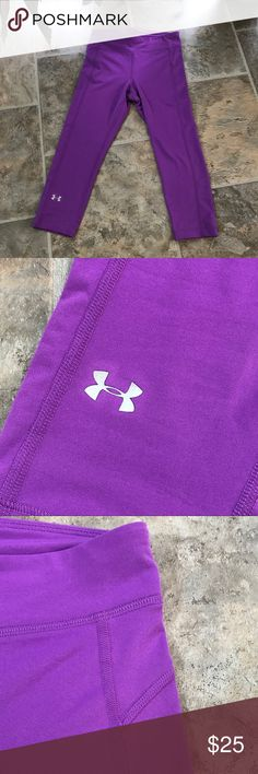🔥SALE🔥Bright purple UA compression capris Excellent condition Under Armour compression capris. Bright purple color, UA logo is not cracked at all and stitching is all in place. I love these but they are too tight. 😕 The tag is missing but they are an XS as I have Small compression capris and they fit just fine. Under Armour Pants