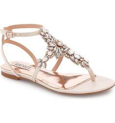 Badgley Mischka 'Cara' Crystal Embellished Flat Sandal (Women) available at Bridal Sandals, Dress Sandals, Bridal Shoes, Flat Sandals, Wedding Shoes, Flat Shoes, Ivory Sandals, Bling Sandals, Rhinestone Sandals