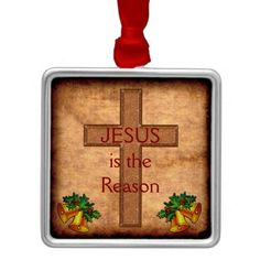 30% Site Wide Use Code: GIFTYOURSELF Ends 12-31-2016 11:59PM PT: Jesus is the Reason Christian Ornaments Christmas design with Vintage like background and Cross Christmas Ornaments. Customizable Christmas Christian Ornaments Your TEXT or keep ours.  SHIPS next business day or by tomorrow. Call Zazzle Designer Linda for help or changes. 239-949-9090 http://www.Zazzle.com/LittleLindaPinda*