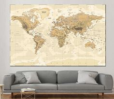 Large world map wall art with countries names canvas printextra large detailed world map wall art with countries names canvas printextra large world map home decor world map canvas print ready to hang gumiabroncs Image collections