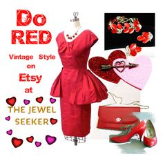 Do Red at TheJewelSeekers on Etsy by thejewelseeker-1 on Polyvore featuring Evan Picone, Modern Vintage, vintage, women's clothing, women's fashion, women, female, woman, misses and juniors