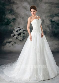 Sweetheart A-line Zipper Tulle Embroidery Sweep Sleeveless White Wedding Dresses