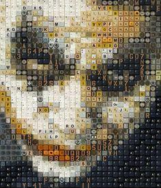 Facce da film ricreate con collage di vecchie tastiere (by Guy Whitby)