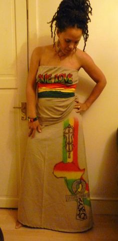 Love is all I bring...Rasta long skirt 3 piece KHAKI suit with belt headwrap size Medium to large
