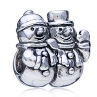 Pugster Two Snowman Silver Plated Style Pandora Bead