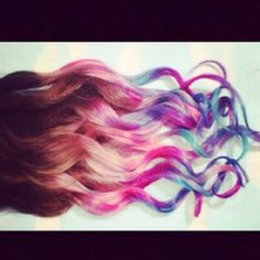 Dipped multi-color hair strands
