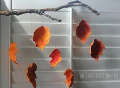 Recycled Autumn Leaf Mobile - The Imagination Tree, using fruit box cardboard packing