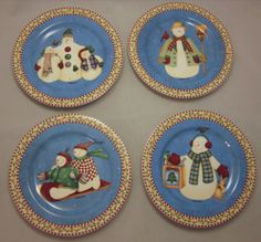 Lot Set of 4 Debbie Mumm Sakura Jolly Snowmen Dessert Salad Plates Christmas & Sakura PENGUINS Set of 4 Salad / Snack 8\