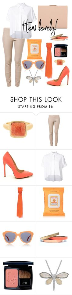 """""""How."""" by schenonek ❤ liked on Polyvore featuring Rivka Friedman, Patrizia Pepe, Alice + Olivia, Burt's Bees, Karen Walker, Voz Collective, Christian Dior and Lord & Taylor"""