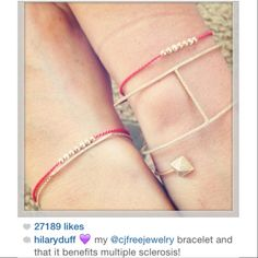CJ Free Jewelry - Hilary Duff - Race to Erase MS - Multiple Sclerosis charity bracelet