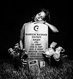 Elsheba Khan at the grave of her son, Specialist Kareem Rashad Sultan Khan Platon Antoniou: Service: Platon