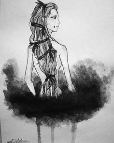 "D.Art (@d.art._) ☁☁☁ #woman #moon #hair #watercolor #ink #art #iloveart #sketchbook #sketch #artismypassion…"""