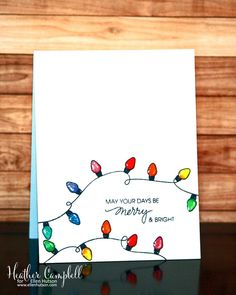 Merry and Bright Card by Heather Campbell using the Merry & Bright stamp set. - card ideas Merry and Bright Card by Heather Campbell using the Merry & Bright stamp set. Merry and Bright Card by Heather Campbell using the Merry & Bright stamp set. Christmas Doodles, Christmas Art, Christmas Humor, Christmas Lights Drawing, Cute Christmas Cards, Christmas Island, Christmas Vacation, Christmas Drawings For Cards, Christmas Present Drawing