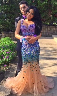 2016 Two-pieces Mermaid Prom Dresses Straps Sparkly Crystals Evening Gowns