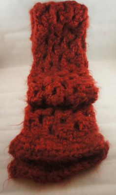 Women's Handmade Crochet Red Fuzzy Lightweight Scarf Ready to Ship on Etsy, $17.00