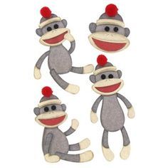"These Sock Monkey 3D Stickers from the Paper Studio are perfect for scrapbook pages, picture frames, card making, invitations, collage art, and any craft project that needs dressing up.  	  	There are four stickers on foam pad adhesive for added dimension measuring about 1 1/2"" x 1 3/4"" to 1 5/8"" x 3 3/4""."