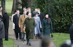 The Royal family annually attend the Christmas Service at St Mary's on the Queen's Sandringham Estate. Prince Phillip and the Princess Royal are seen in front of Prince Charles and the Duchess of Cornwall with Prince William, Prince Harry and the Earl of Wessex behind them